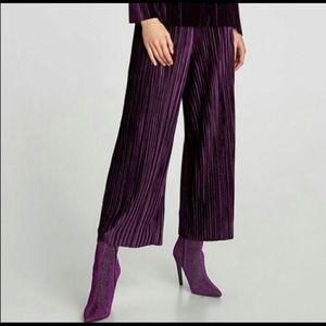Zara pleated purple velvet wide leg trousers Small